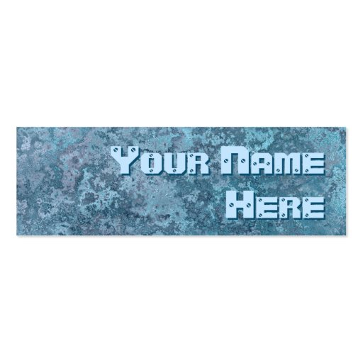 Corrosion blue print side text skinny business card template
