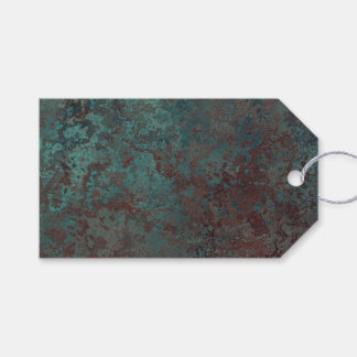 """Corrosion """"Copper"""" print gift tags green back"""