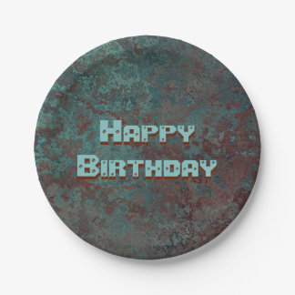 "Corrosion ""Copper"" print Happy Birthday 7 Inch Paper Plate"