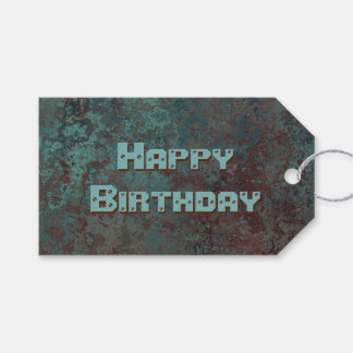"""Corrosion """"Copper"""" print Happy Birthday green back Gift Tags"""