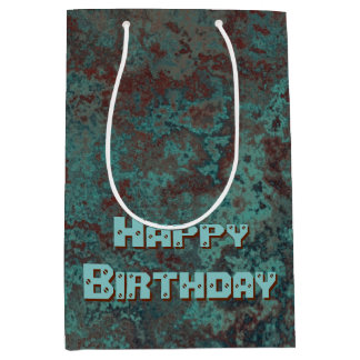 "Corrosion ""Copper"" print Happy Birthday medium Medium Gift Bag"