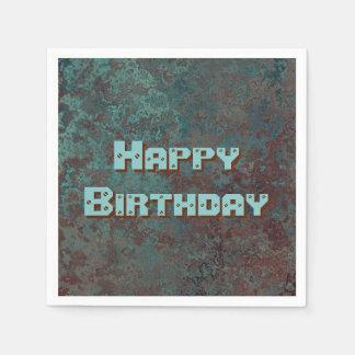 """Corrosion """"Copper"""" print Happy Birthday Paper Napkin"""