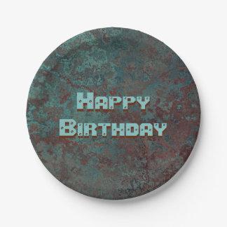 """Corrosion """"Copper"""" print Happy Birthday Paper Plate"""