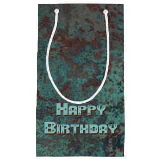 "Corrosion ""Copper"" print Happy Birthday small Small Gift Bag"