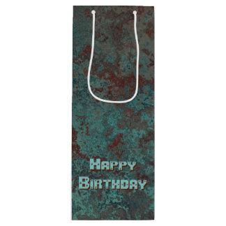 "Corrosion ""Copper"" print Happy Birthday wine Wine Gift Bag"