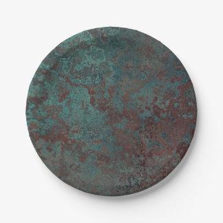 """Corrosion """"Copper"""" print paper plate"""