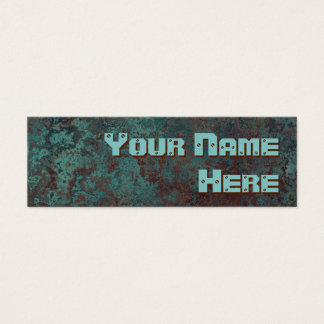 "Corrosion ""copper"" print side text skinny mini business card"