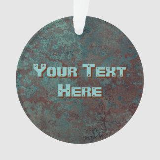 "Corrosion ""Copper"" print Text acrylic round Ornament"