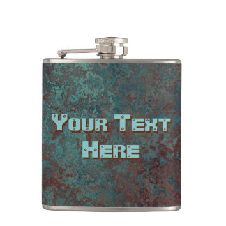 "Corrosion ""Copper"" print Text flask vinyl wrapped"