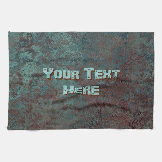 "Corrosion ""Copper"" print Text kitchen towel"