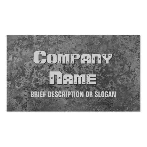 Corrosion grey print 'description' business card