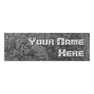 Corrosion grey print side text skinny mini business card