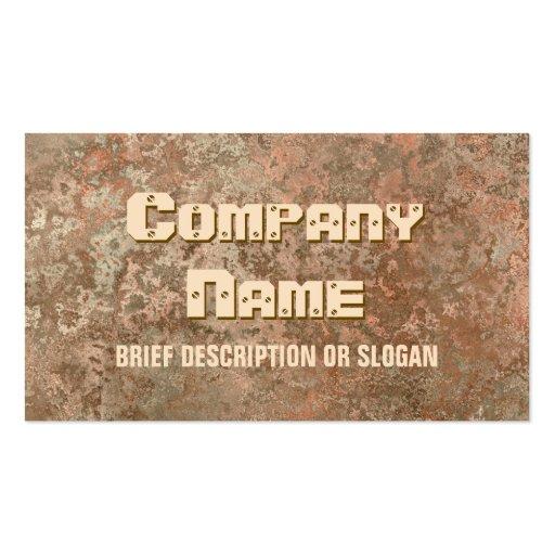Corrosion orange print 'description' business card template