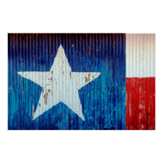 Corrugated Metal Texas Flag Poster