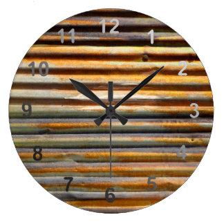 Corrugated Rust Large Clock