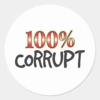 Corrupt 100 Percent Round Sticker