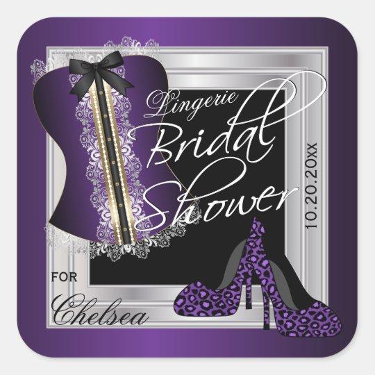 Corset Bridal Shower - Lingerie | Purple Square Sticker