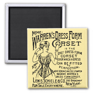 Corset Newspaper Advertisement Square Magnet