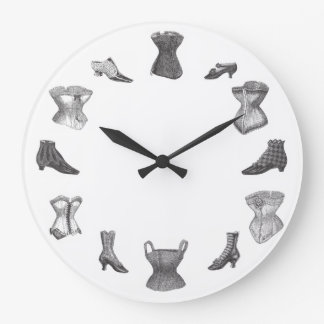 Corsets and Shoes Large Clock