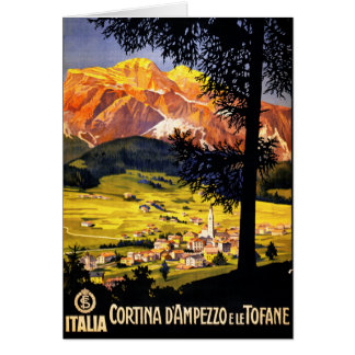 Cortina d Ampezzo Italy Vintage Poster Restored Card