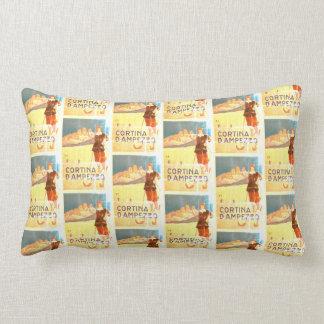 Cortina D'Ampezzo Italy Ski Vintage Print Cushion