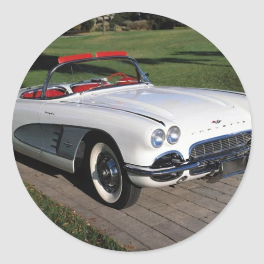 Corvette antique cars classic autos vintage cars round sticker