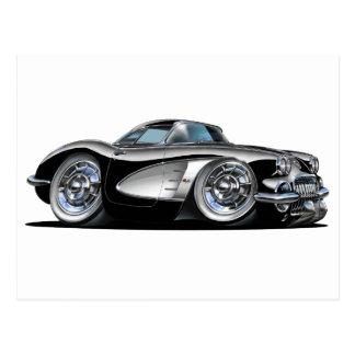 Corvette Black Car Postcard