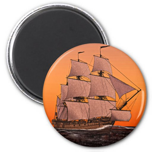 Corvette Sailing Ship at Sunset Refrigerator Magnets