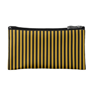 Cosmetic Bag. Black, Gold Vertical Stripes. Cosmetic Bag