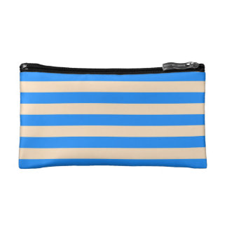 COSMETIC BAG. BLUE & CREAM STRIPES. COSMETIC BAG