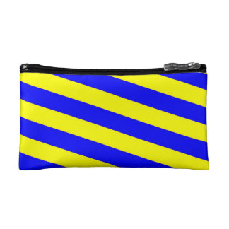 COSMETIC BAG. BLUE & YELLOW DIAGONALS. COSMETIC BAG