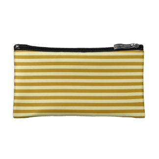 Cosmetic Bag. Horizontal Goldenrod Stripes. Makeup Bag