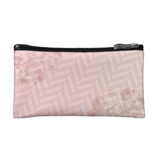 cosmetic bag in pink herringbone pattern