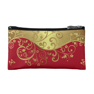 Cosmetic Bag--Red  & Gold Swirls Cosmetic Bag