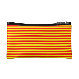 COSMETIC BAG. RED &YELLOW THIN STRIPES. COSMETIC BAG