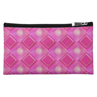 Cosmetic Bag Sweet 16, Pink Love Diamonds Circle