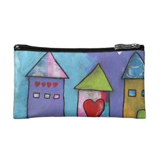 Cosmetic Bag, Whimsical House Print Makeup Bag