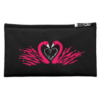 Cosmetic bag with beautiful swans in love design