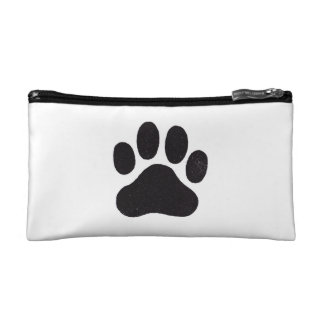 Cosmetic bag with paw prints on both sides
