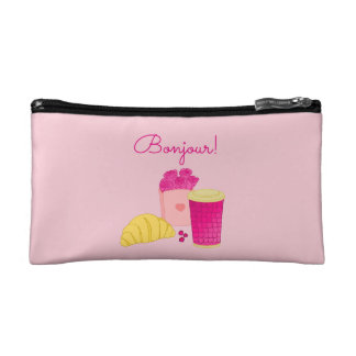 Cosmetic bag with pink style breakfast design