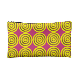 Cosmetic Bag. Yellow - Rough Gold Circles Motif. Makeup Bag