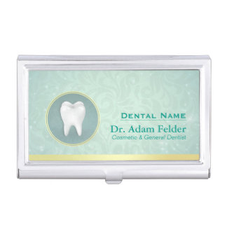 Cosmetic & General Dentist Gold & Turquoise Damask Business Card Holder