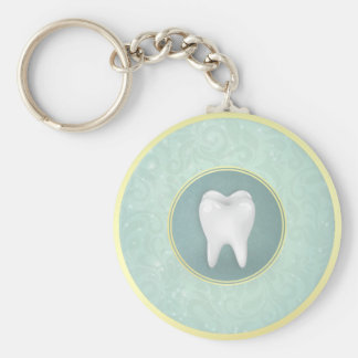 Cosmetic & General Dentist Gold Turquoise Damask Keychain