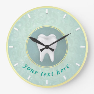 Cosmetic & General Dentist Gold Turquoise Damask Large Clock