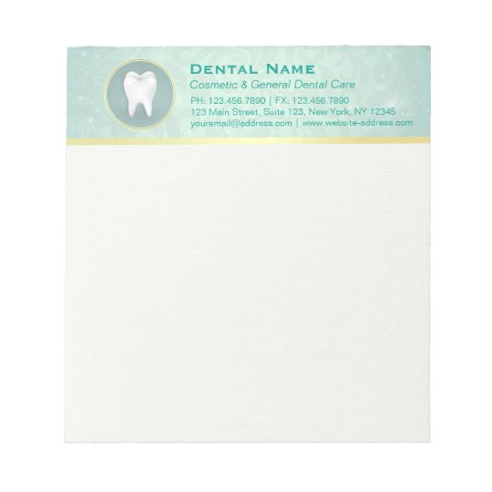 Cosmetic & General Dentist Gold & Turquoise Damask Notepad