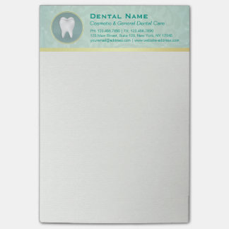 Cosmetic & General Dentist Gold & Turquoise Damask Post-it Notes