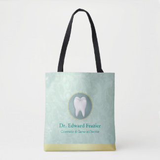 Cosmetic & General Dentist Gold & Turquoise Damask Tote Bag