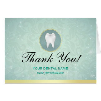 Cosmetic General Dentist Gold Turquoise Thank You Card