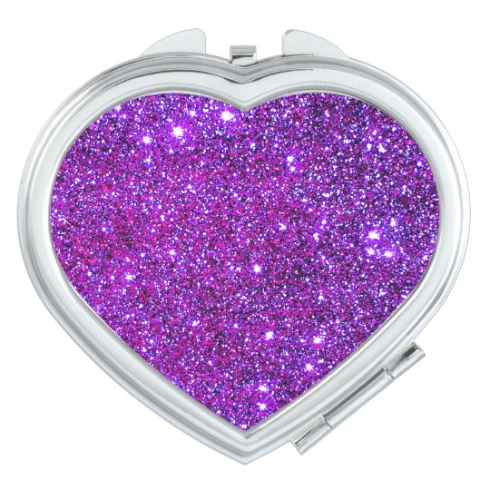 Cosmetic Mirror Hot Pink Sparkly Heart 4 Vanity Mirrors
