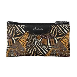 Cosmetic Mixed Animal Zebra Leopard Tiger Print Makeup Bag